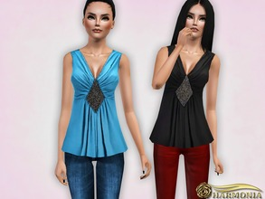 Sims 3 — Metallic Embellishment Peplum Top by Harmonia — 4 color recolorable Mesh By Harmonia