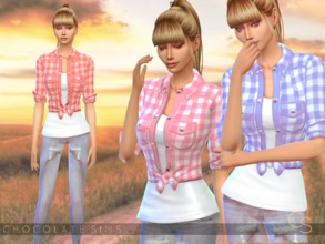 Sims 4 — Knotted Plaid Shirt  by MissSchokoLove — For your life in the countryside! Comes in 5 shades! (pink, red,