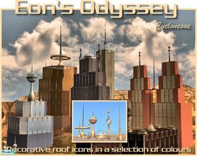 Sims 2 — Eon's Odyssey Cityscape Icons by Cyclonesue — Sci-Fi roof and landscape icons in a range of metalic colours to