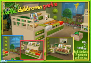 Sims 2 — S2S Turtle Childroom Part II - Meshes by sims2sisters — Single Bed, 2-tile Curtain, 1-tile Curtain, Shelves, Toy