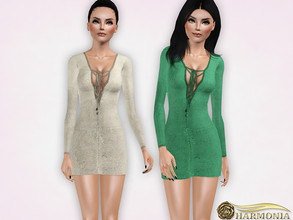 Sims 3 — Crochet Lace-Up Dress by Harmonia — 3 variations Recolorable Please do not use my textures. Please do not