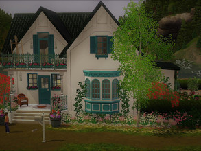 Sims 3 — Turquoise shutters no CC unfurnished by sgK452 — This small (unfurnished) house can accommodate a couple with a
