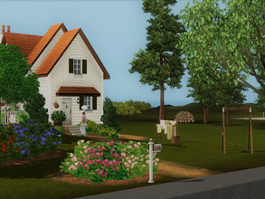 Sims 3 — La Pommeraie no CC by sgK452 — Small white wooden house with olive-colored shutters, for a couple without