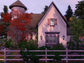 Sims 3 — Stone attic house no CC by sgK452 — Family house for a couple and two children Attic rooms upstairs with a desk