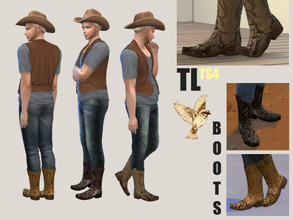 Sims 4 — Cowboy Boots MOCKINGBIRD by TitusLinde — Mockingbird is the first set of custom made cowboy boots. Our