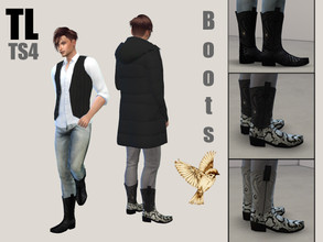 Sims 4 — Cowboy Boots Timbercreek by TitusLinde — Our shoemaker produced something in Black and White for you. No matter