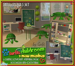Sims 2 — S2S Turtle Childroom - Meshes by sims2sisters — This set contains 7 new meshes. Turtle Loveseat, Two Turtle