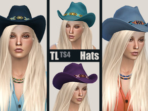 Sims 4 — Western Hat Series BLUE by TitusLinde — A blue hat doesn't mean you're feeling blue... These four versions of