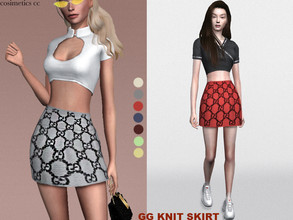 Sims 4 — gg knit skirt . by cosimetics — made by cosimetics cc . hq mod compatible . seven swatches . custom cas