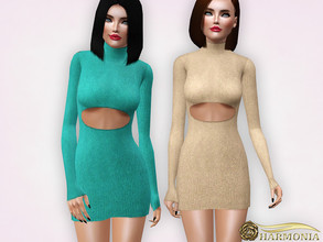 Sims 3 — Metallic Turtleneck Sweater Mini Dress by Harmonia — 4 colors Recolorable Please do not use my textures. Please