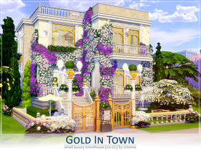 Sims 4 — Gold In Town by Lhonna — Small but luxury townhouse. The house is furnished, landscaped, tested and ready to