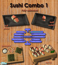 Sims 2 — Japanese Sushi meals - Combo 1 by Simaddict99 — Delicious Sushi any time of day. No cooking required, shows