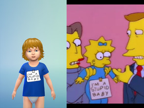Sims 4 — I'm A Stupid Baby Simpsons Shirt Toddlers by pretzel4 — A humorous, blue t-shirt for toddlers referencing The