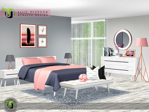 Sims 3 — Allie Bedroom by NynaeveDesign — This form-meets-function bedroom mixes mid century modern lines with
