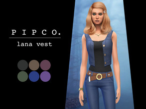 Sims 4 — lana vest. by Pipco — a simple denim vest. 6 swatches base game compatible ea mesh edit - frankenmesh all lods