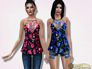 Sims 3 — Lace Neck Embroidered Peplum Top by Harmonia — not-Recolorable Mesh By Harmonia Please do not use my textures.