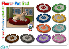 Sims 2 — Flower Pet Bed (Mesh & Recolors) by NoFrills — A flower shaped furry pet bed for your Sims pets. One mesh