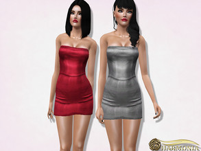 Sims 3 — Vegan Leather Strapless Bodycon Dress by Harmonia — 3 color. recolorable Please do not use my textures. Please