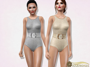 Sims 3 — Glitter One-piece Swimsuit by Harmonia — 3 color. recolorable Please use a color suitable for the texture (light