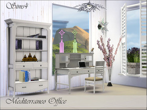 Sims 4 — Mediterraneo Office by Pilar — The light of the Mediterranean