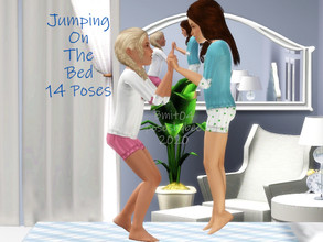 Sims 3 — Jumping On The Bed by jessesue2 — 14 poses of children and toddlers jumping on the bed, with one adult pose