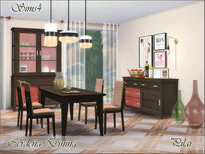 Sims 4 — Cerdena Dining by Pilar — walnut wood with a touch of coral.