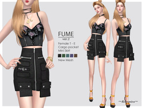 Sims 4 — FUME - Ver.2 - Mini Skirt by Helsoseira — Style : Industrial cargo mini skirt with pockets detail Name : FUME