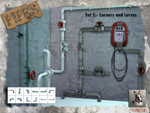 Sims 4 — Pipes 2 - Corners and curves by Cyclonesue — This is the second set from my new pipes wall-decoration series.
