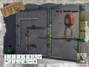 Sims 4 — Pipes 4 - Double Pipes by Cyclonesue — This is the fourth set from my new pipes wall-decoration series. These