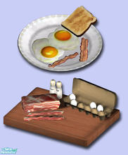 Sims 2 — Fried Eggs with Bacon by Exnem — This is a new option for your sims to cook for breakfast, fried eggs with a