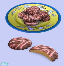Sims 2 — Assorted Cookies Col#1 - Chocolate Cover by Exnem — Chocolate and cherry marble covered cookies.
