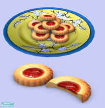 Sims 2 — Assorted Cookies Col#1 - Strawberry Tart by Exnem — Tart cookies filled with strawberry jelly. Fully animated,