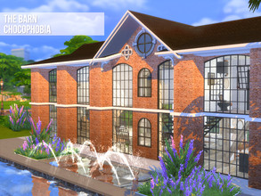 Sims 4 — The Barn by Chocophobia — This industrial barn has been fully renovated to serve as a spacious house. It is
