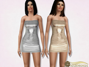 Sims 3 — Metallic Ruched Strapless Bodycon Dress by Harmonia — 3 color. recolorable Please do not use my textures. Please