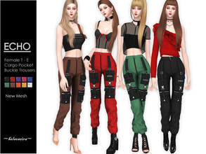 Sims 4 — ECHO - Cargo Trousers by Helsoseira — Style : Industrial cargo buckle strap detailing straight leg trousers Name