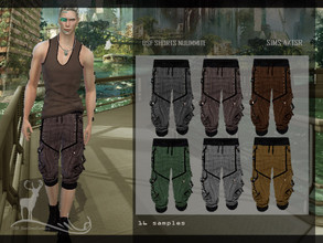 Sims 4 — DFS SHORT NUUMMITE by DanSimsFantasy — Shorts in resistant material with an engraving of black lines, 4 pockets