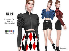 Sims 4 — RUNI - Light Jacket by Helsoseira — Style : Streetwear, industrial Ruched puff sleeve crop jacket top Name :