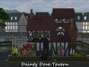 Sims 4 — Dainty Dove Tavern [No CC] by xwolfxboundx — While this charming tavern looks like more of a life-size dollhouse
