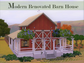 Sims 3 — Converted Barn House by Scape — A farmhouse with a classical country barn exterior but modern renovated