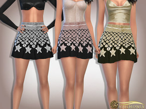 Sims 4 — Star Sequin Flare Mini Skirt by Harmonia — Mesh By Harmonia 5 color Please do not use my textures. Please do not