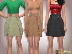 Sims 4 — Suede Lace-Up Flare Mini Skirt by Harmonia — Mesh By Harmonia 9 color Please do not use my textures. Please do