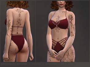 Sims 4 — Summer Bloom | Full body tattoo by sugar_owl — - 15 designs in one - 3 swatches - compatible with all skintones