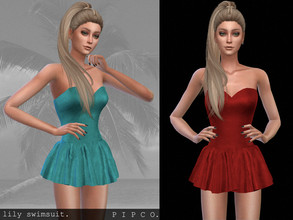 Sims 4 — pipco - lily swimsuit (with skirt). by Pipco — a simple, stylish swimsuit with a skirt.