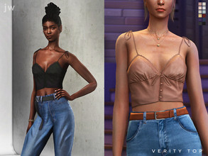 Sims 4 — Verity Top by jwofles-sims — A satin-y buttoned cami top with lace and string details.