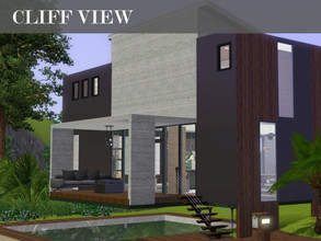 Sims 3 — Cliff View by Scape — A modern, open plan house for your sims. Lovely view overlooking the sea if placed on the