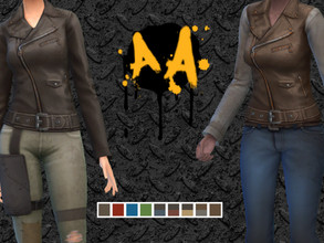 Sims 4 — Apocalypse Apparel - Women's Leather Jacket by Bluebrick04 — This item has 9 unique textures; some have full