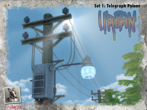 Sims 4 — Urban Set 1: Telegraph Pylons by Cyclonesue — Telegraph poles with decorative enhancements and a removable