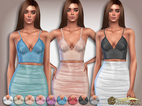 Sims 4 — Shines Metallic Crop Top by Harmonia — 9 color Please do not use my textures. Please do not re-upload. Please