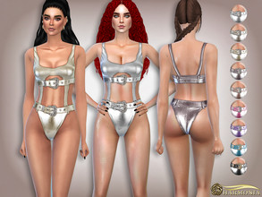 Sims 4 — Buckled Belts Metallic Swimsuit by Harmonia — 9 color Please do not use my textures. Please do not re-upload.