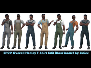 Sims 4 — Male OverallHenley Edited by Julie J - Eco Living by Julie_J — Originally from Eco Living. The top part made